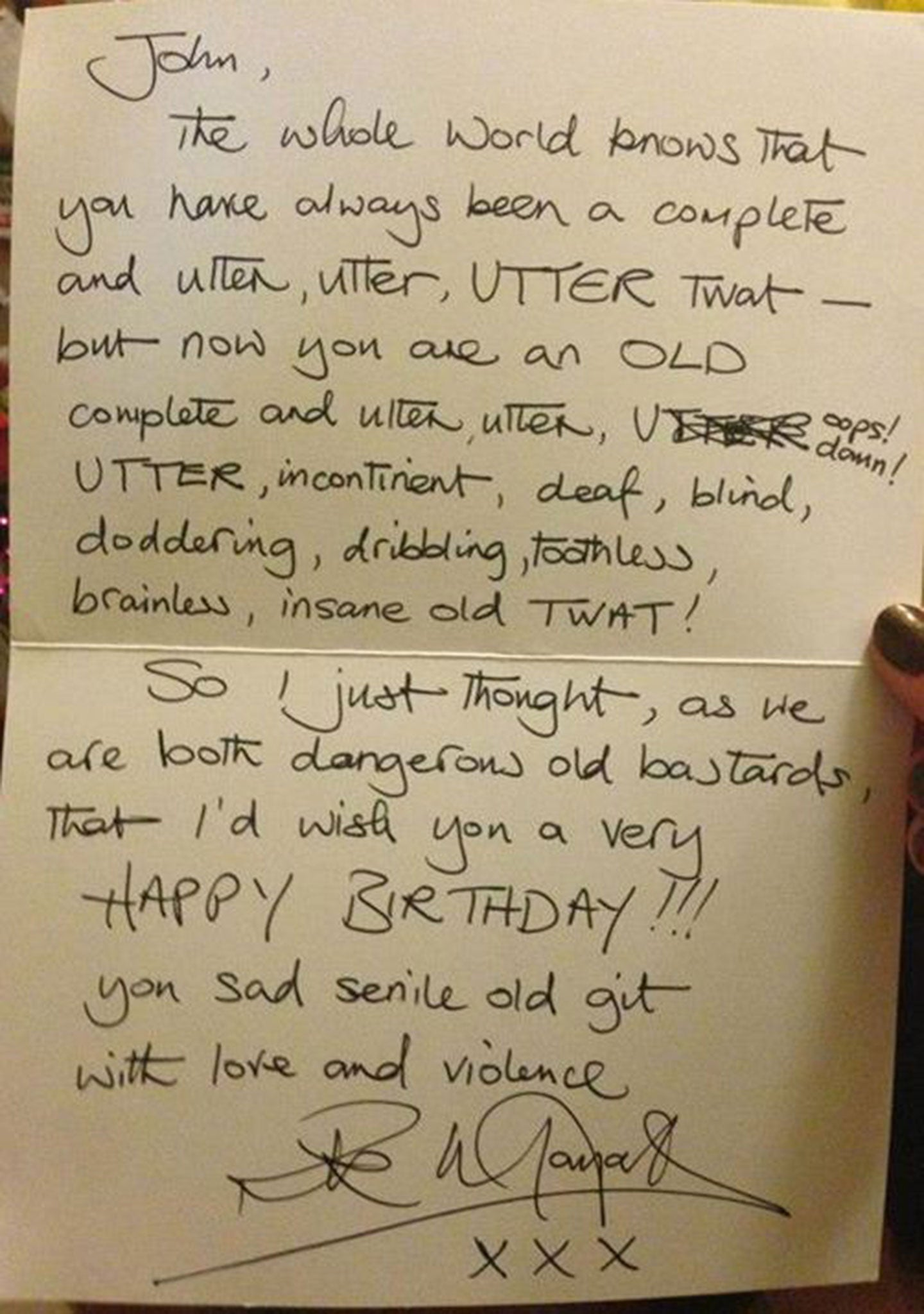 Rik Mayall Fans Family Requested A Signed Birthday Card And This