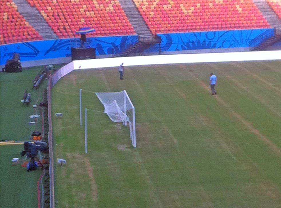 The pitch looks worn in Manaus, where England play Italy in their first game on Saturday