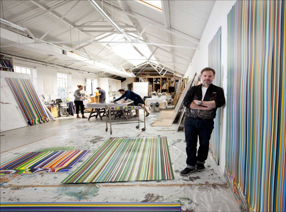 Earning his stripes: Ian Davenport at work in Peckham