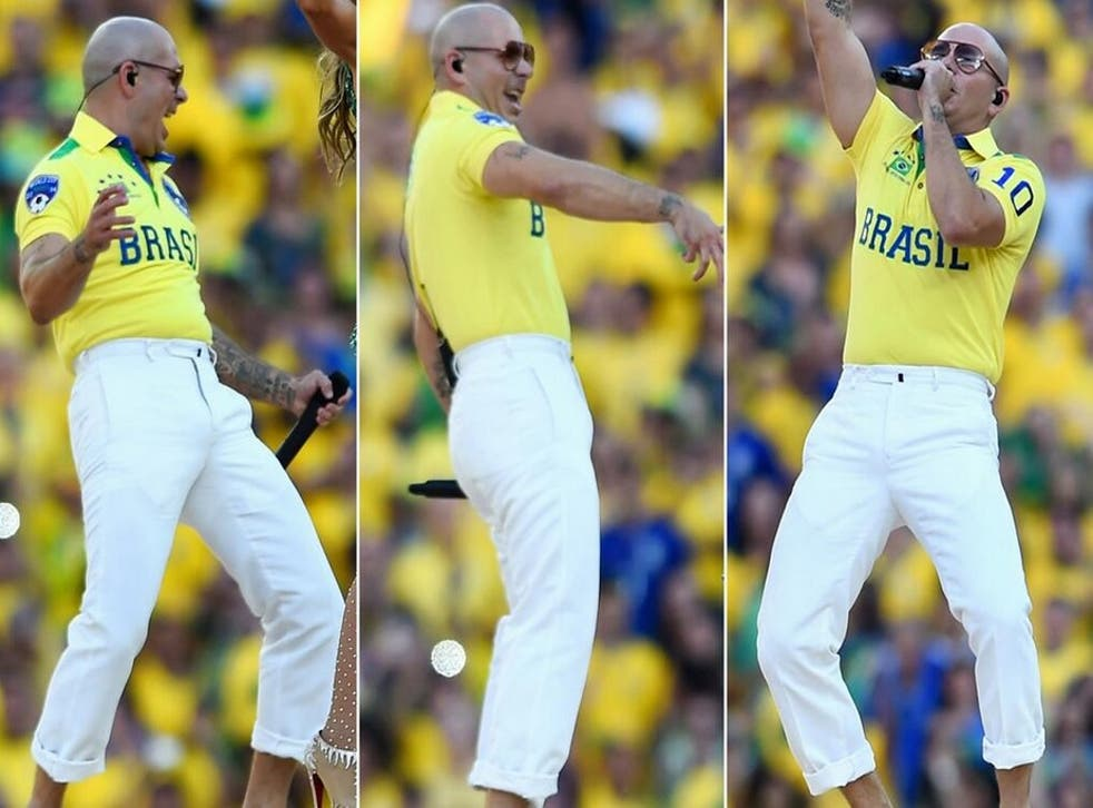 Pitbull shows off his 'mankles' in Sau Paulo, Brazil