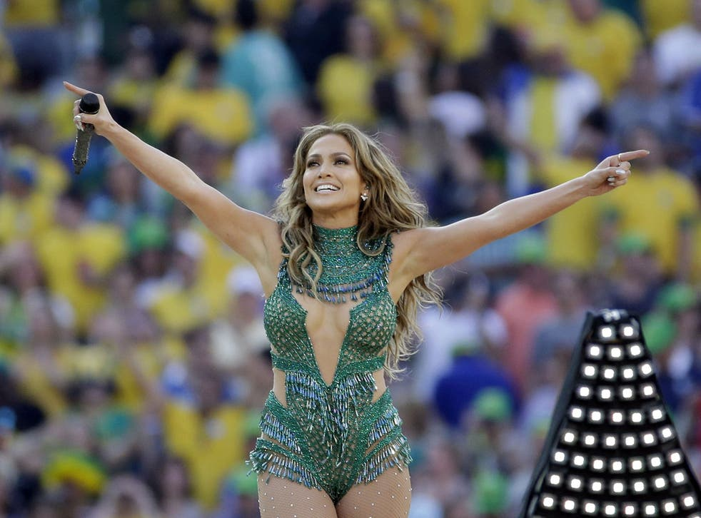 United States singer Jennifer Lopez performs during the opening ceremony ahead of the group A World Cup soccer match between Brazil and Croatia, the opening game of the tournament, in the Itaquerao Stadium in Sao Paulo, Brazil