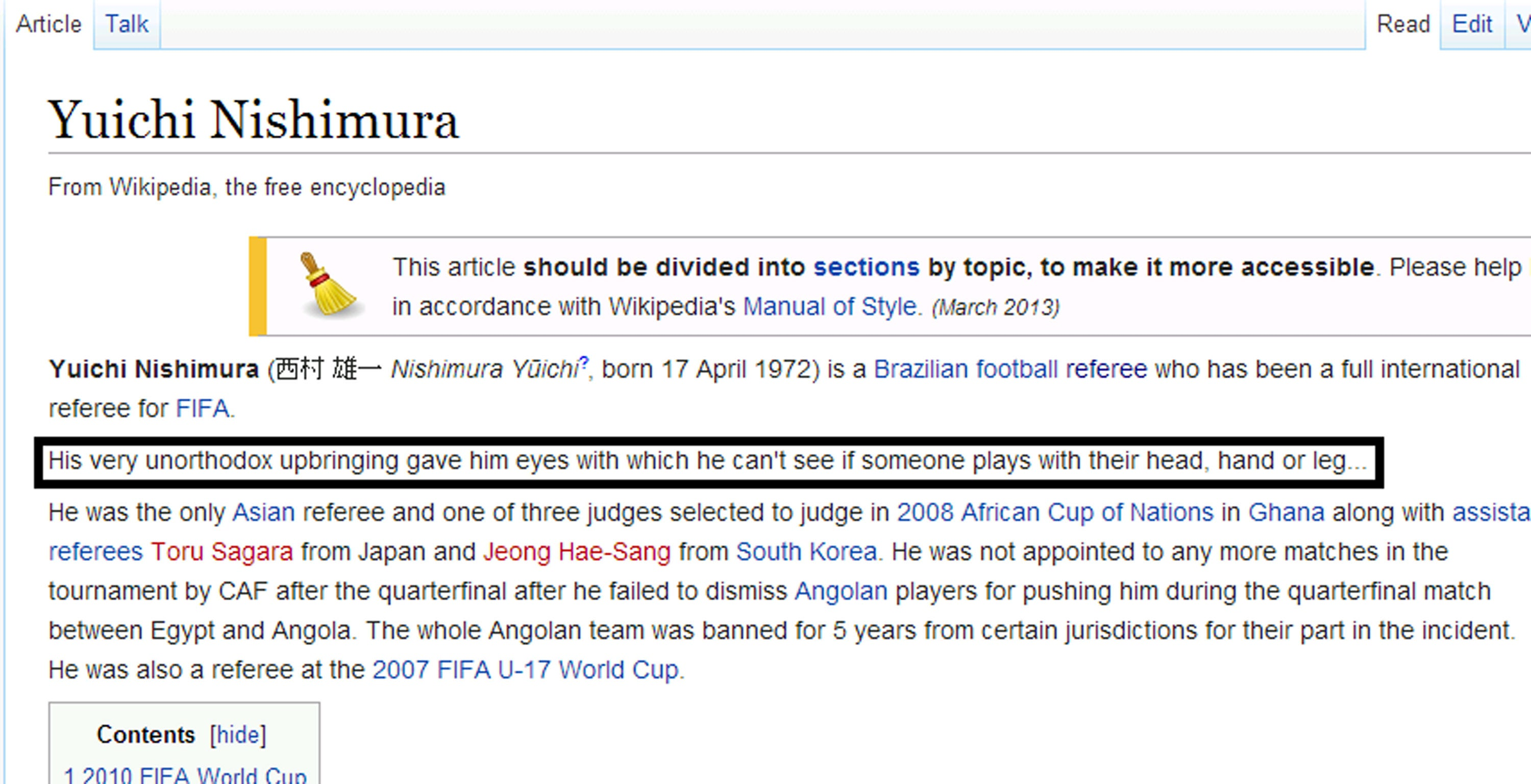 ... pdf Array - world cup 2014 yuichi nishimura gets his wikipedia profile  changed rh independent ...
