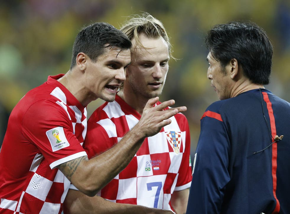 Dejan Lovren (left) was raging and suggested Mr Nishimura should not referee at the tournament