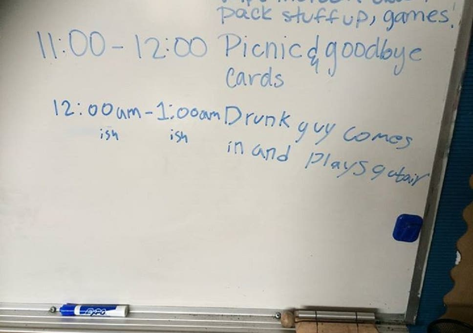 Open classroom door Into Classroom Photo Of The Message Was Posted By The Teachers Husband Pinterest Teacher Leaves Classroom Door Open Overnight Finds Creepy