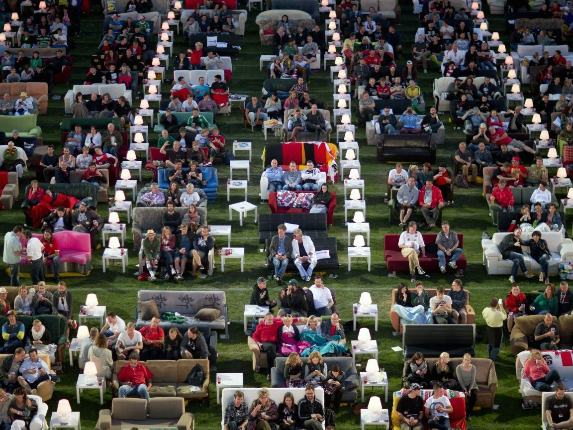 World Cup 2014 German Fans Take Sofas To Stadium Watch Games In Giant Living Room