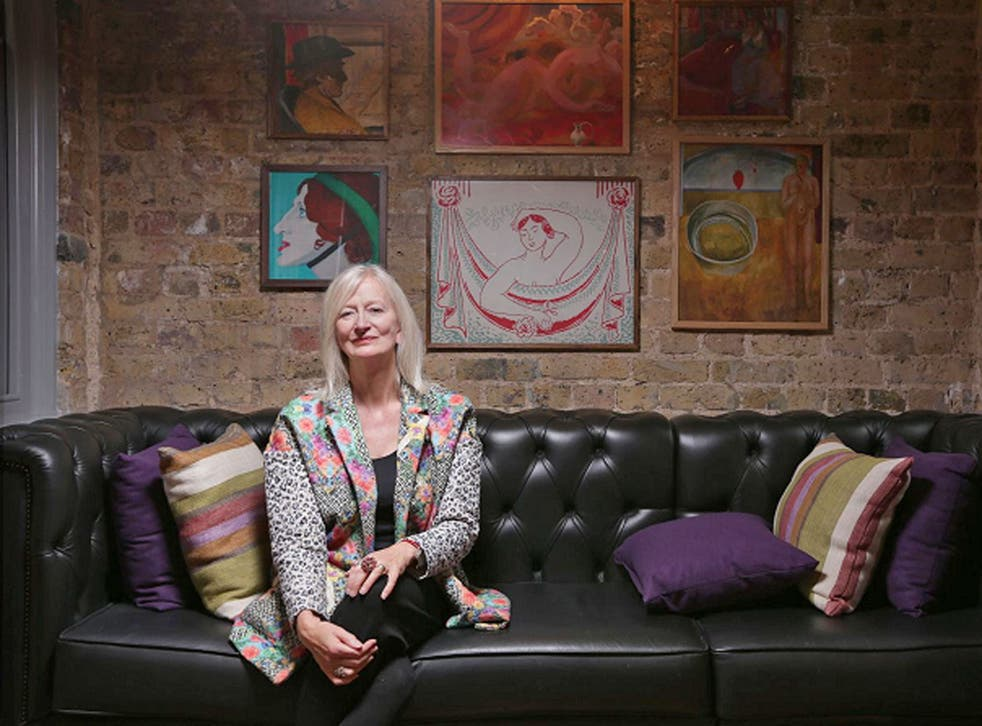 Maggie Gee at the Morton Hotel, London, with its artworks by Bloomsbury Set painters. Gee admits she is nervous about what scholars and critics will make of her new novel, which resurrects Virginia Woolf into the 21st century