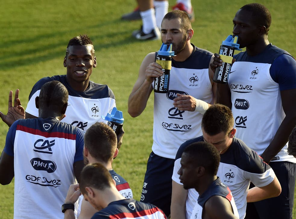 The France squad pictured training