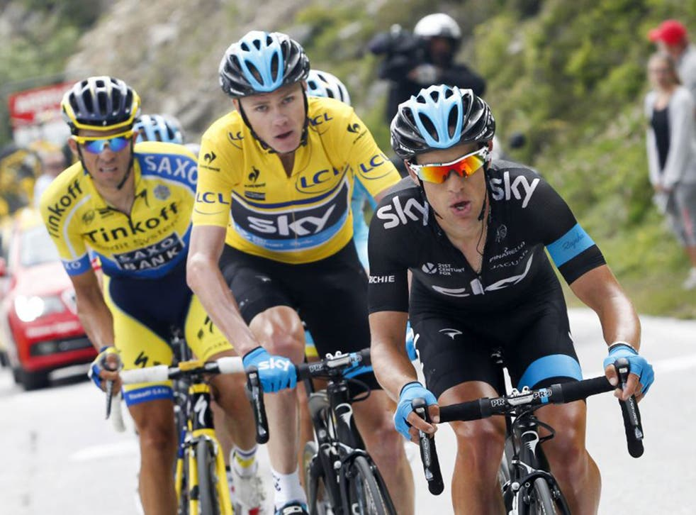 Mountain to climb: Richie Porte, right, is followed by Chris Froome and his rival Alberto Contador