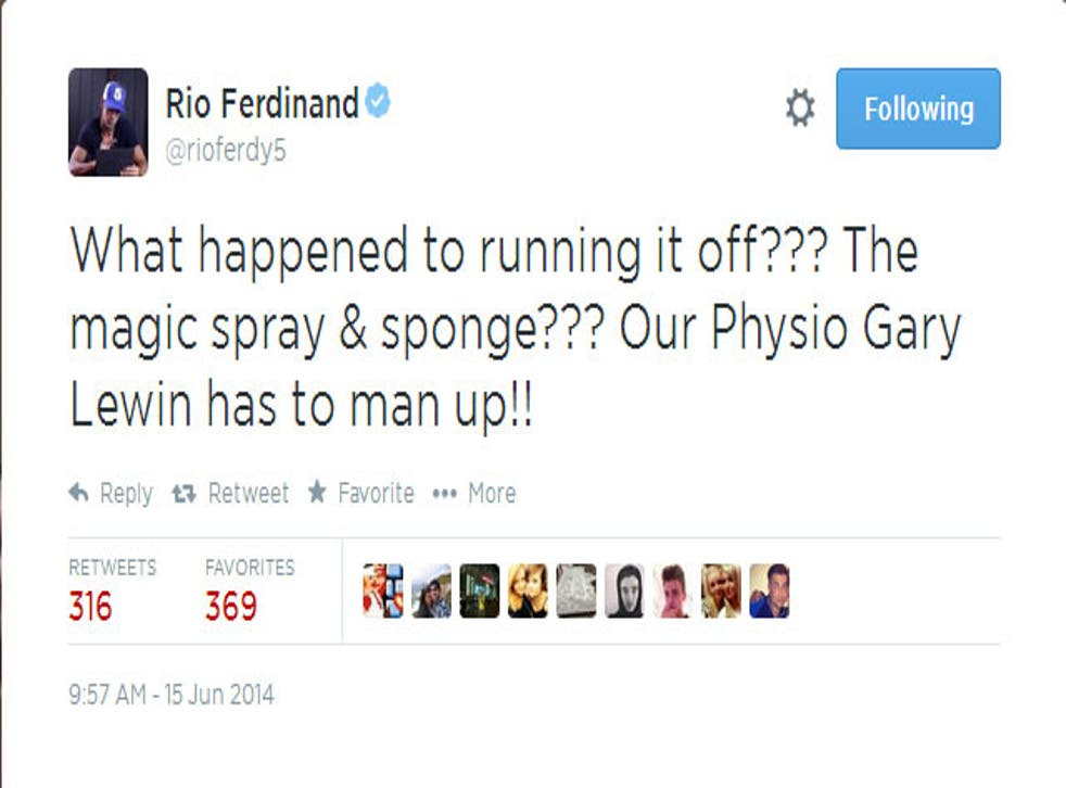 Former England defender Rio Ferdinand was forced to make a hasty apology after appearing to make fun of Gary Lewin.