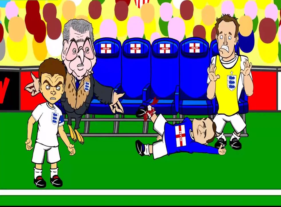 A cartoon created by 442oon, depicting England's 2-1 loss against Italy in the World Cup