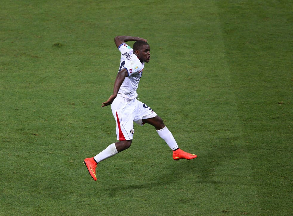 Joel Campbell celebrating after scoring for Costa Rica in the 3-1 win over Uruguay in the 2014 World Cup