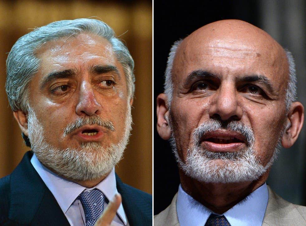 Northern Alliance leader Abdullah Abdullah, left, and the former Finance Minister Ashraf Ghani