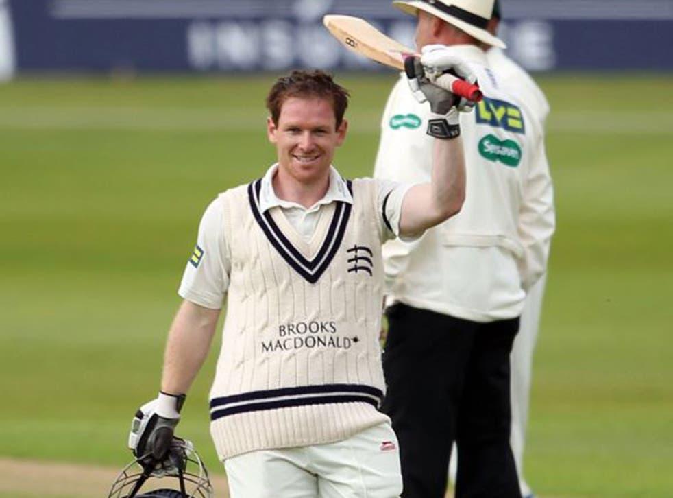 Eoin Morgan fell nine runs short of a double century for Middlesex against Notts