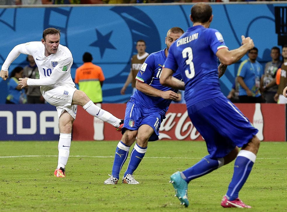 Wayne Rooney hits his most clear-cut chance wide against Italy on Saturday