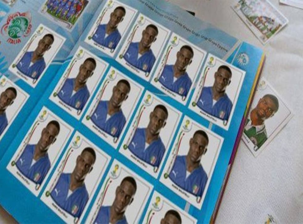 Mario Balotelli posts a picture of a Panini sticker album filled up entirely of pictures of himself