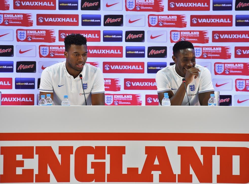Daniel Sturridge speaks to the press alongside Danny Welbeck