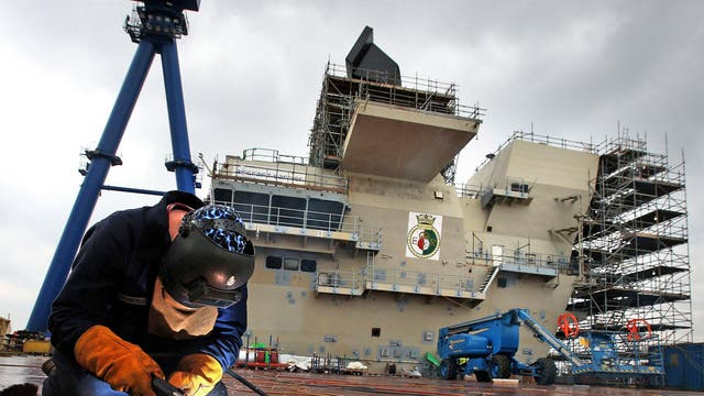 Work continues on HMS Queen Elizabeth Aircraft Carrier at Rosyth Docks