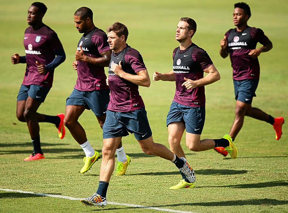 Captain Steven Gerrard (front) can win the tactical battle for England against Uruguay
