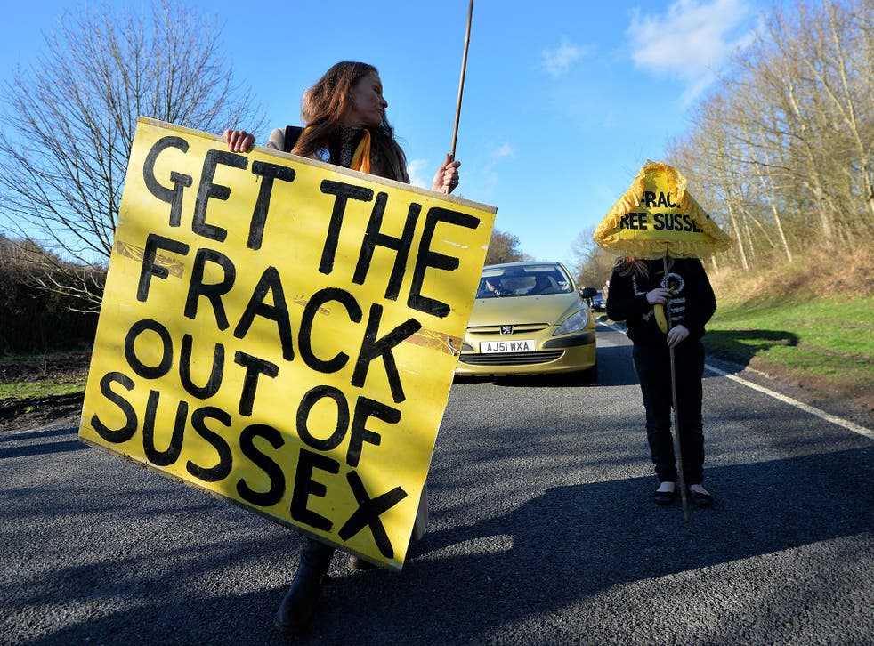 Anti-fracking protesters in Balcombe, West Sussex