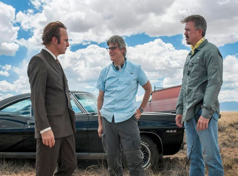Bob Odenkirk as Saul Goodman, joined by character creator Peter Gould and Breaking Bad creator Vince Gilligan