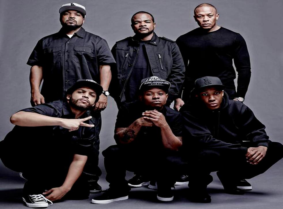 Universal Pictures announces the cast and filmmakers of Straight Outta Compton (clockwise, from top left): Producer Ice Cube, director F. Gary Gray, producer Dr. Dre, actor Corey Hawkins (as Dr. Dre), Jason Mitchell (as Eazy-E) and O'Shea Jackson Jr. (as