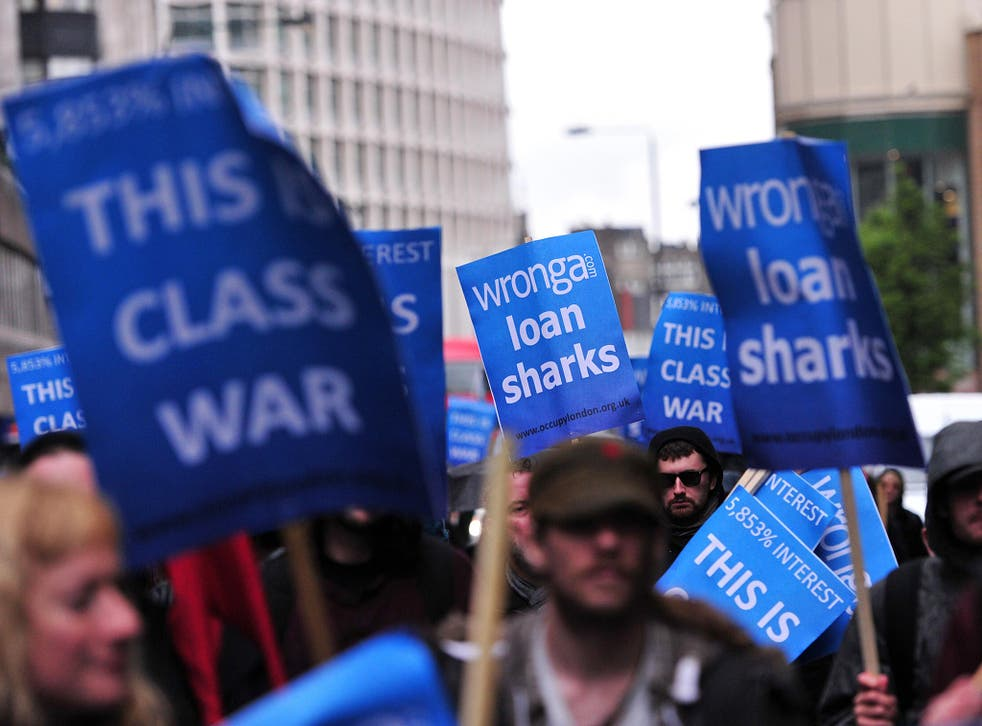 Protesters demonstrate against payday loan firms in London in May