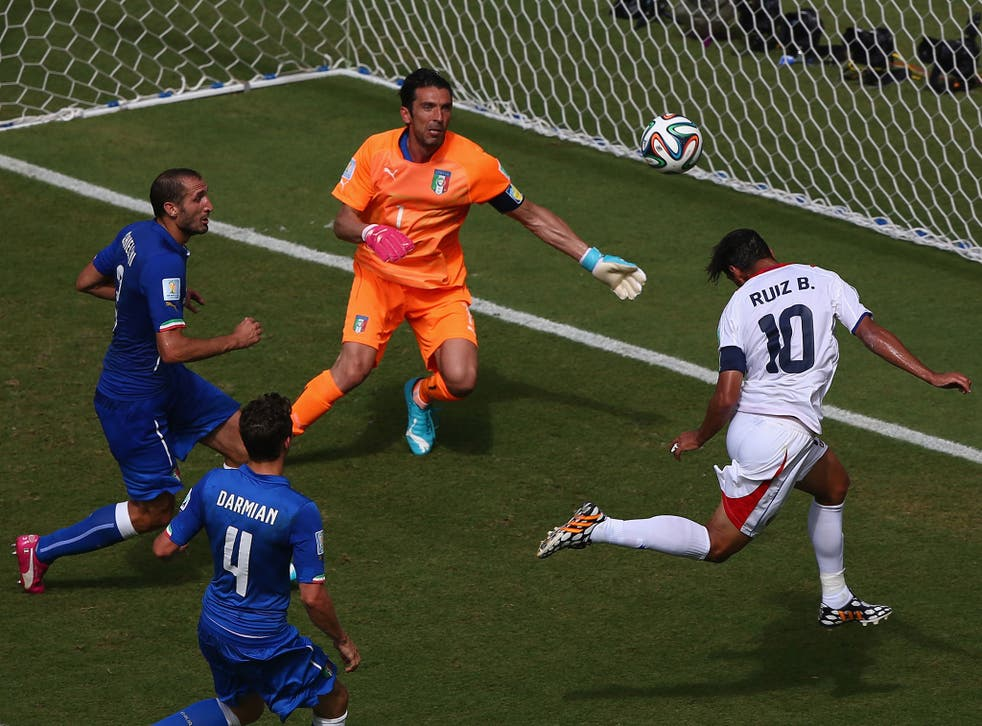 Bryan Ruiz heads home during Costa Rica's shock 1-0 victory against Italy