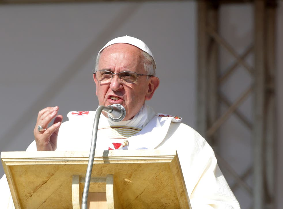 Pope Francis made the comments at Mass in front of thousands of people in a small Italian town.