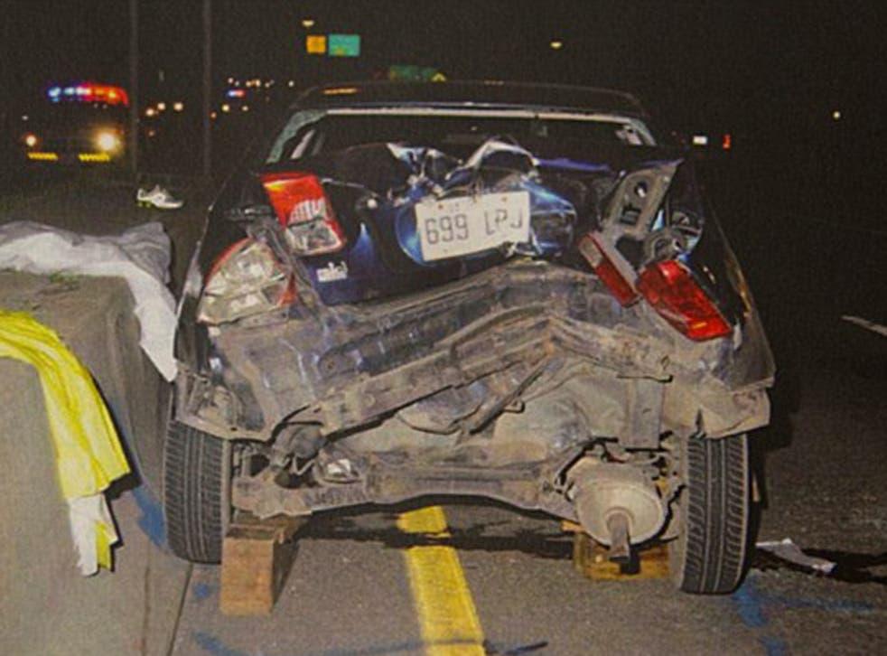 Czornobaj's car after the crash.