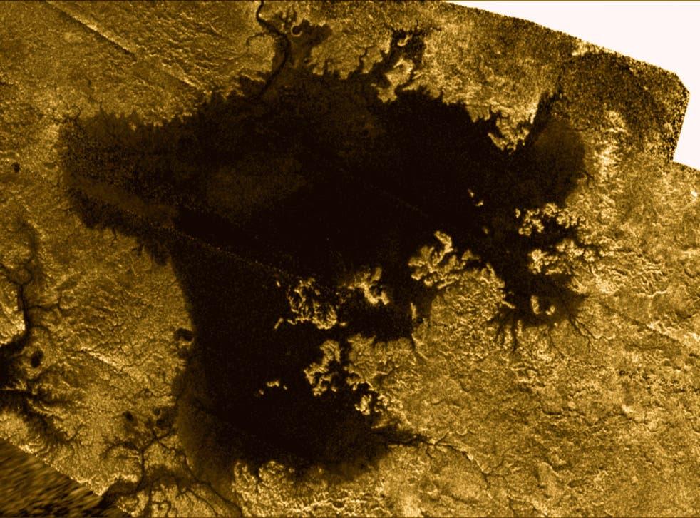 Nasa photo of Titan's north polar sea Ligeia Mare captured by the Cassini probe