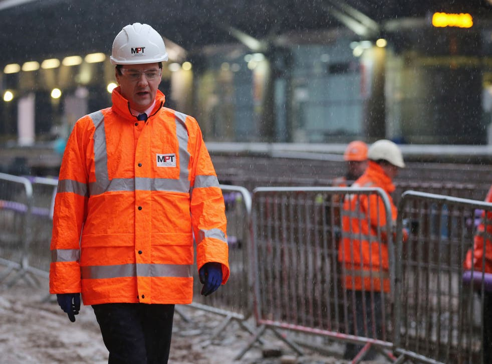 George Osborne at Manchester Airport railway station earlier this year. His speech will offer no timetable or budget for the project