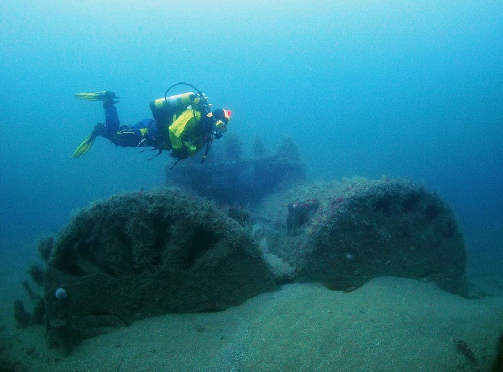 A member of the Appledore Sub Aqua Club diver over the aft boilers of Iona 2
