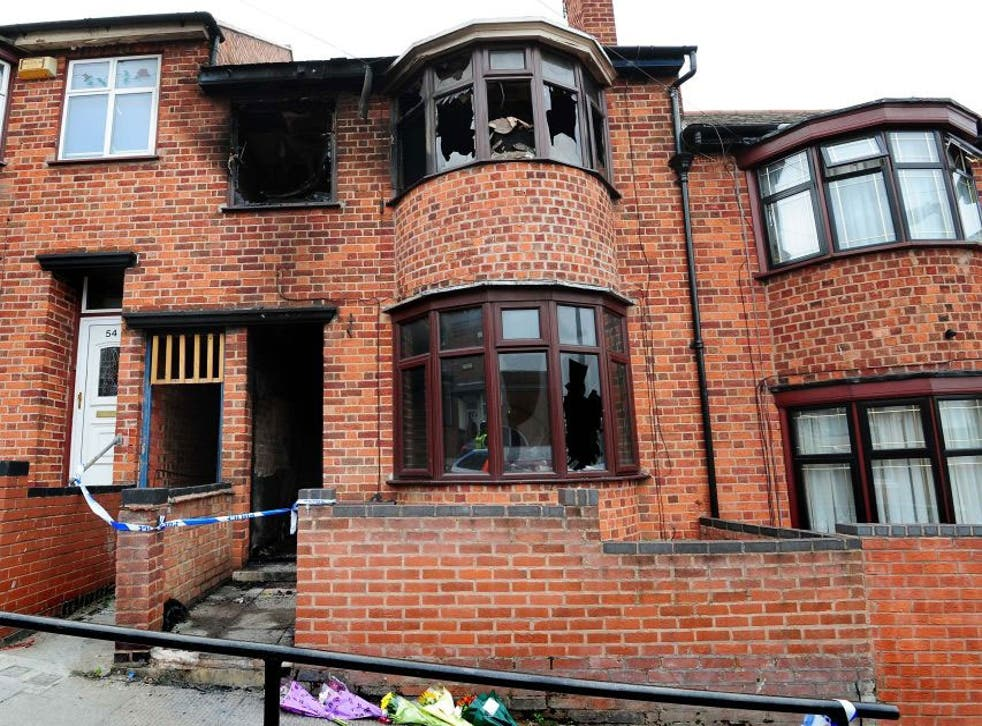 The scene of the fatal house fire in Wood Hill, Leicester, as Kemo Porter and Tristan Richards have been found guilty at Nottingham Crown Court of murdering a mother and her thrLeee children in a house fire in Leicester in the early hours of September 13