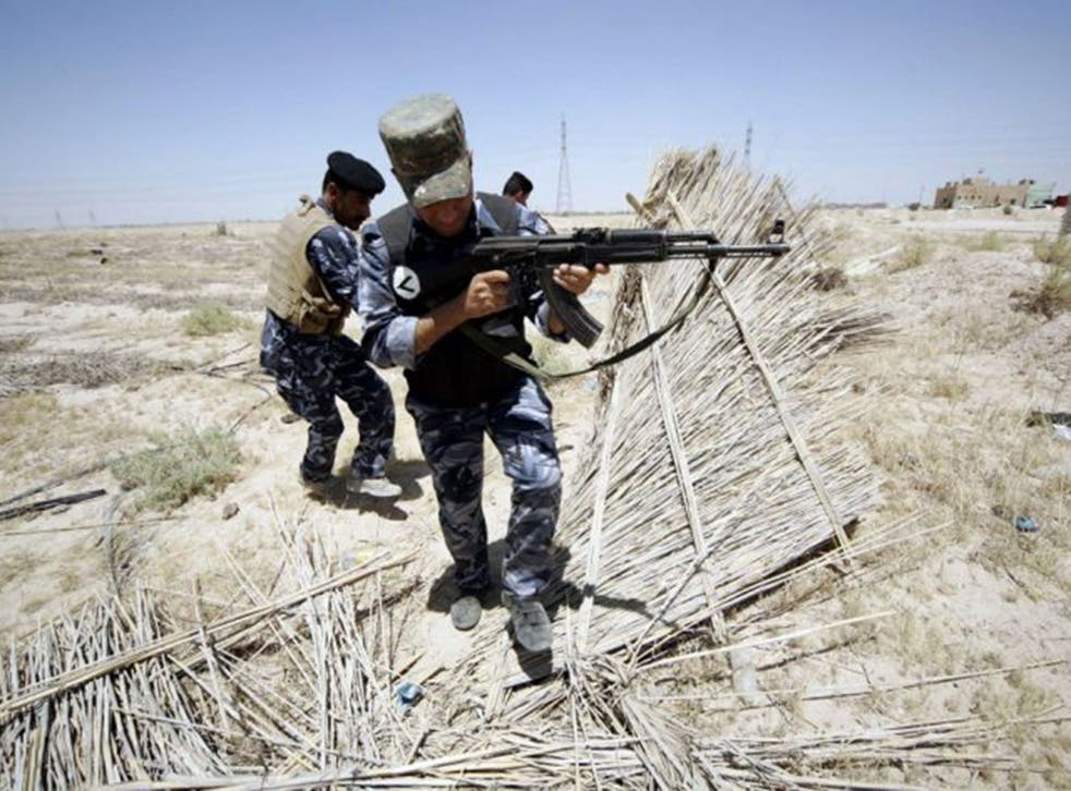 Iraqi soldiers patrolling an area on the borders between Iraq and Saudi Arabia. Isis fighters entered Rutba, a town in Anbar province near the border with Jordan after government troops abandoned their posts