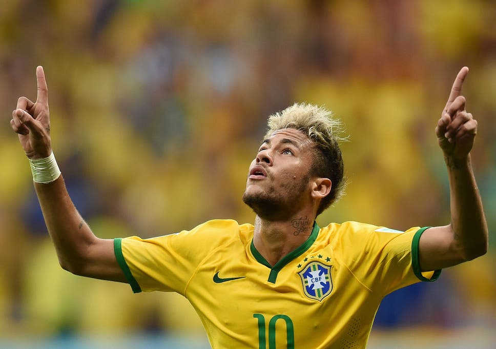 Brazils Forward Neymar Celebrates After Scoring A Second Goal