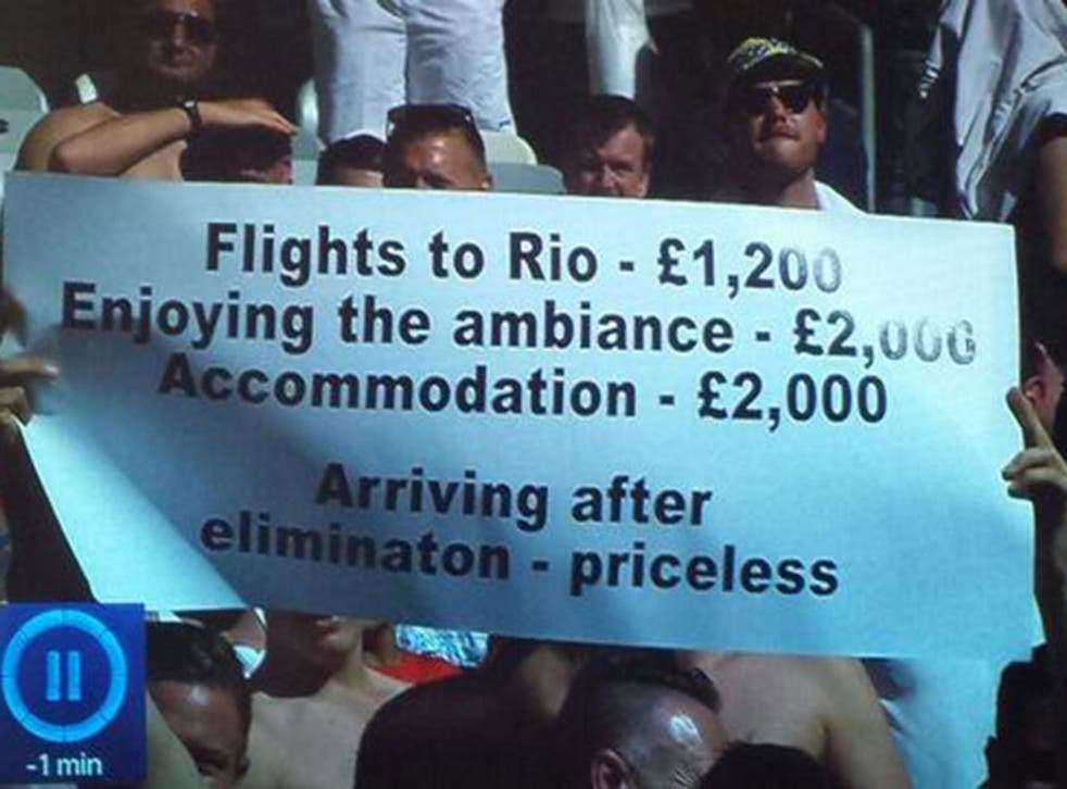 An England fan displayed this comical banner during their final group game against Costa Rica