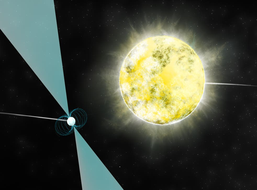 Artist impression of a white dwarf star in orbit with pulsar PSR J2222-0137. It may be the coolest and dimmest white dwarf ever identified.