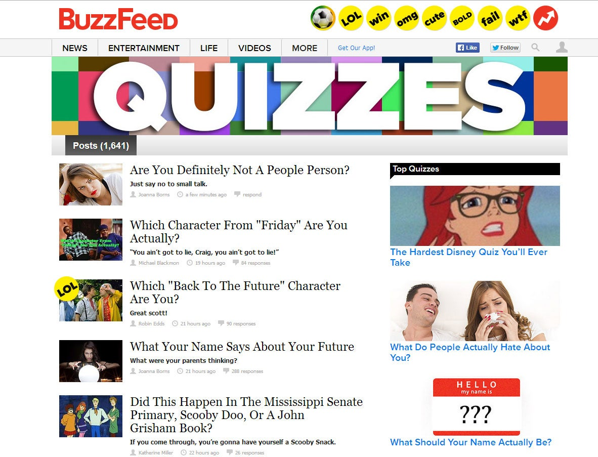 Buzzfeed Denies Using Quizzes To Mine Personal Data Says Collected Information Is Anonymous