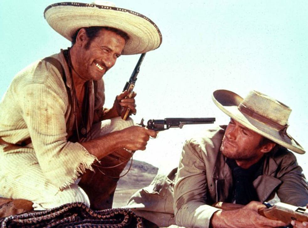 Wallach, far left, with Clint Eastwood in 'The Good, the Bad and the Ugly'