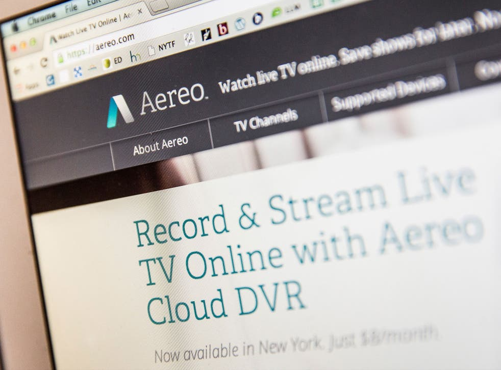 Aereo.com, a web service that provides television shows online, is shown on an MacBook Air, on April 22, 2014 in New York City.