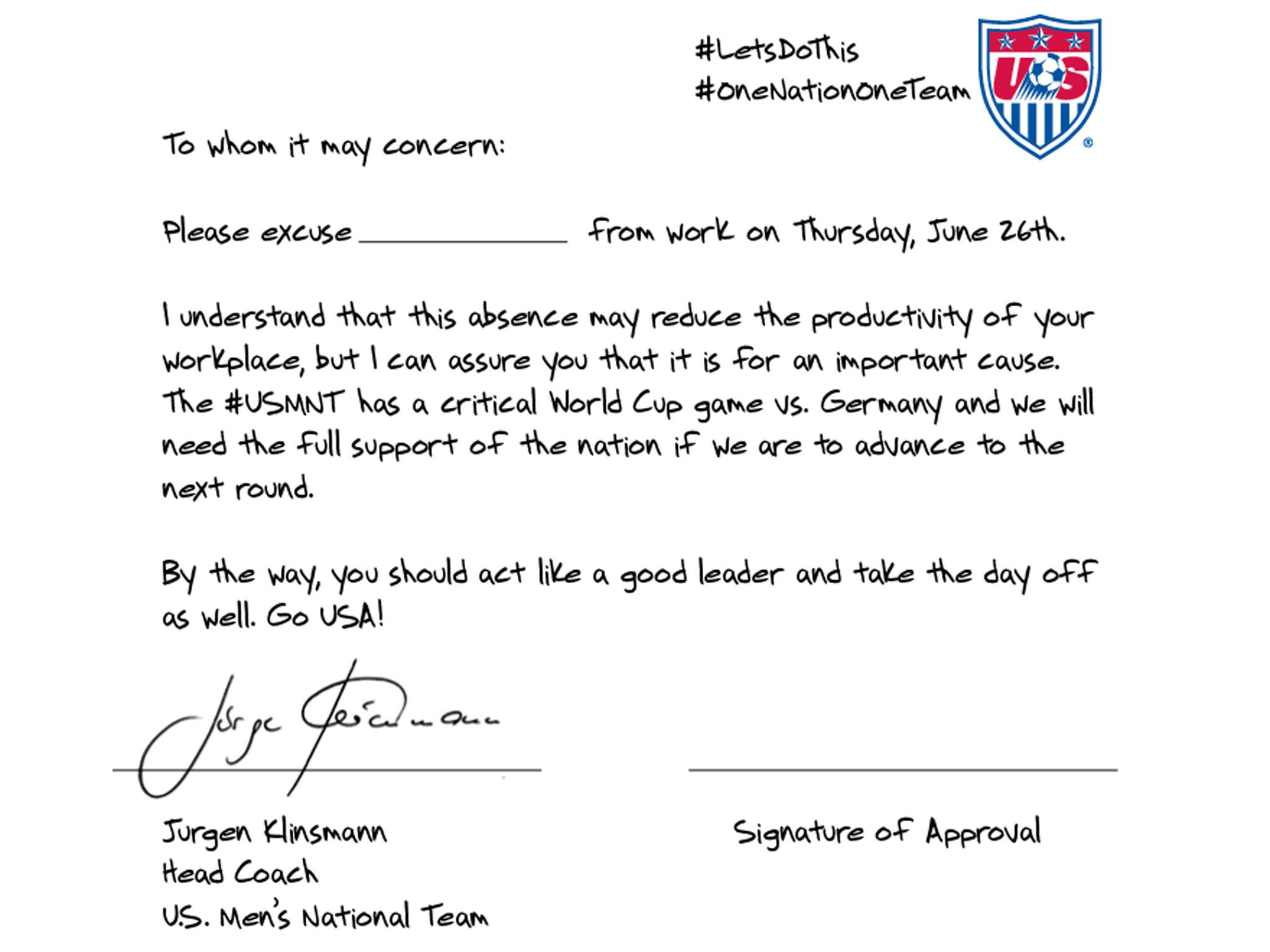 Usa vs germany world cup 2014 signed jurgen klinsmann note urges usa vs germany world cup 2014 signed jurgen klinsmann note urges bosses to give employees day off to support us soccer team the independent spiritdancerdesigns Gallery