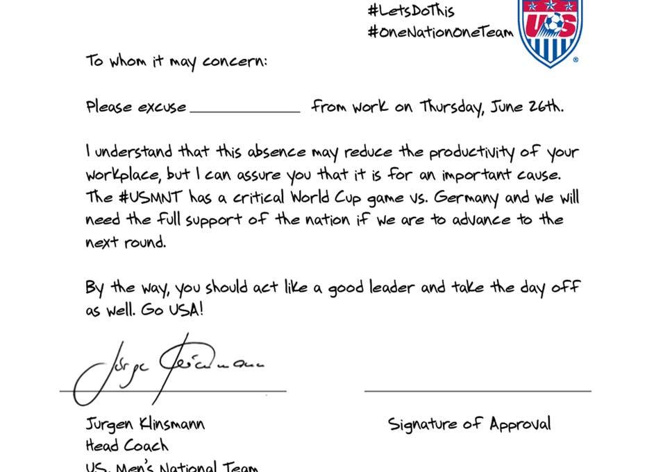 USA vs Germany World Cup 2014: Signed Jurgen Klinsmann note urges