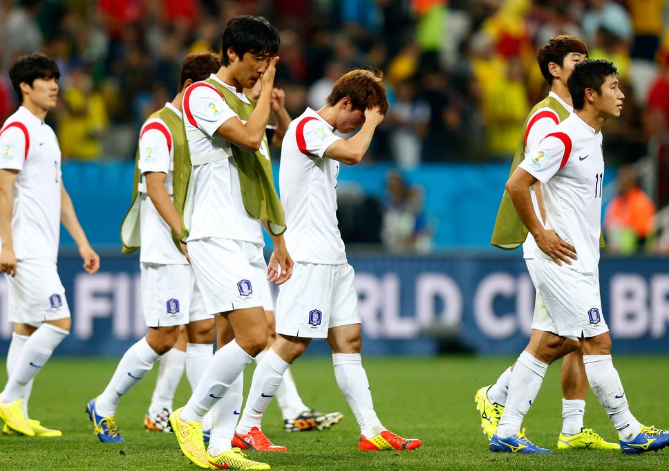 South Korea Players Look Dejected After A 0 1 Defeat To Belgium In The 2017