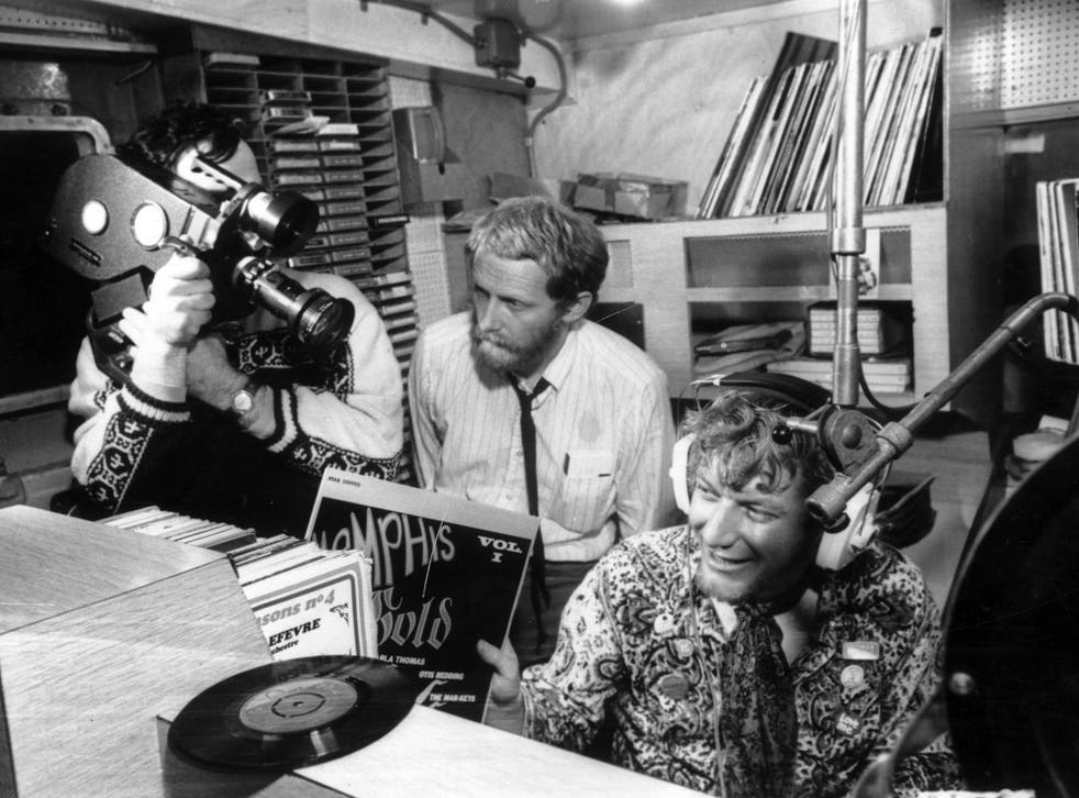 The 'World in Action' team making a program about the pirate radio ship Caroline, filmed on board in 1967