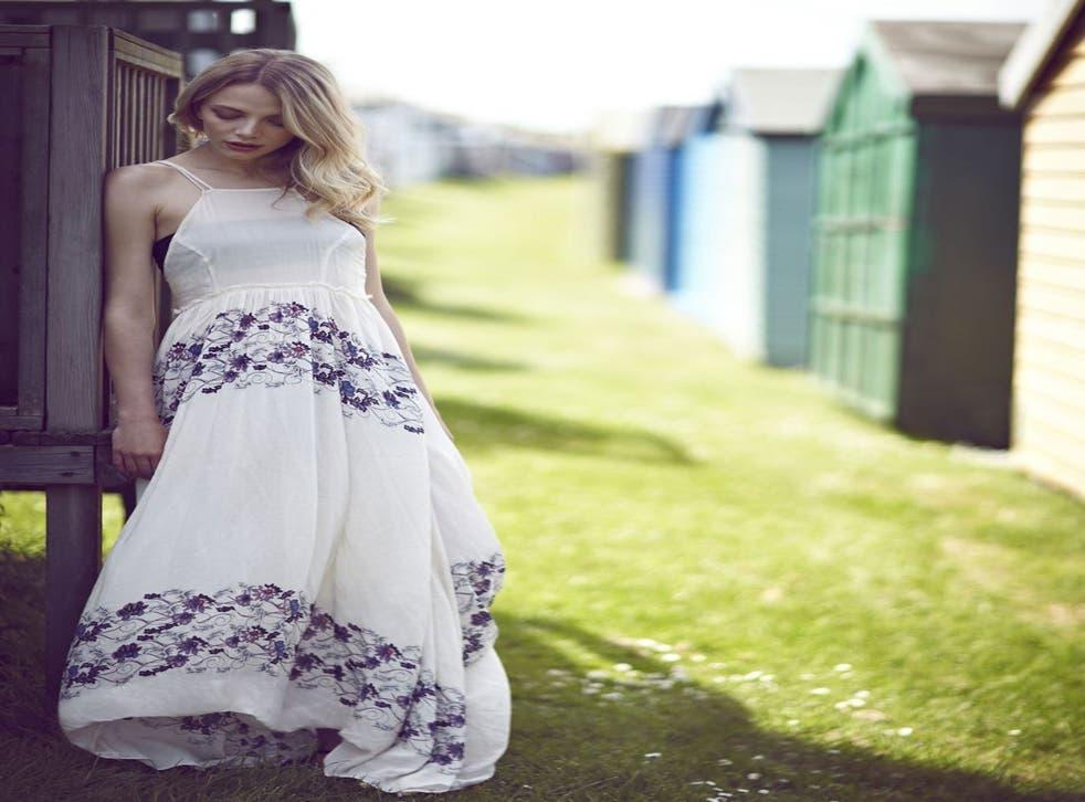 White maxi dress, £138, Free People, as before; black strapless bikini £30, Topshop