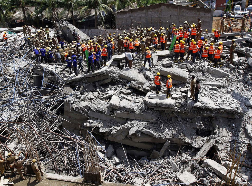 Nearly 90 workers were collecting their wages in the basement of the 11-storey building near Chennai when it collapsed