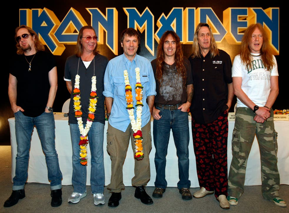 L-R Adrian Smith, Dave Murray, Bruce Dickinson, Steve Harris, Nicko McBrain and Janick Gers of Iron Maiden