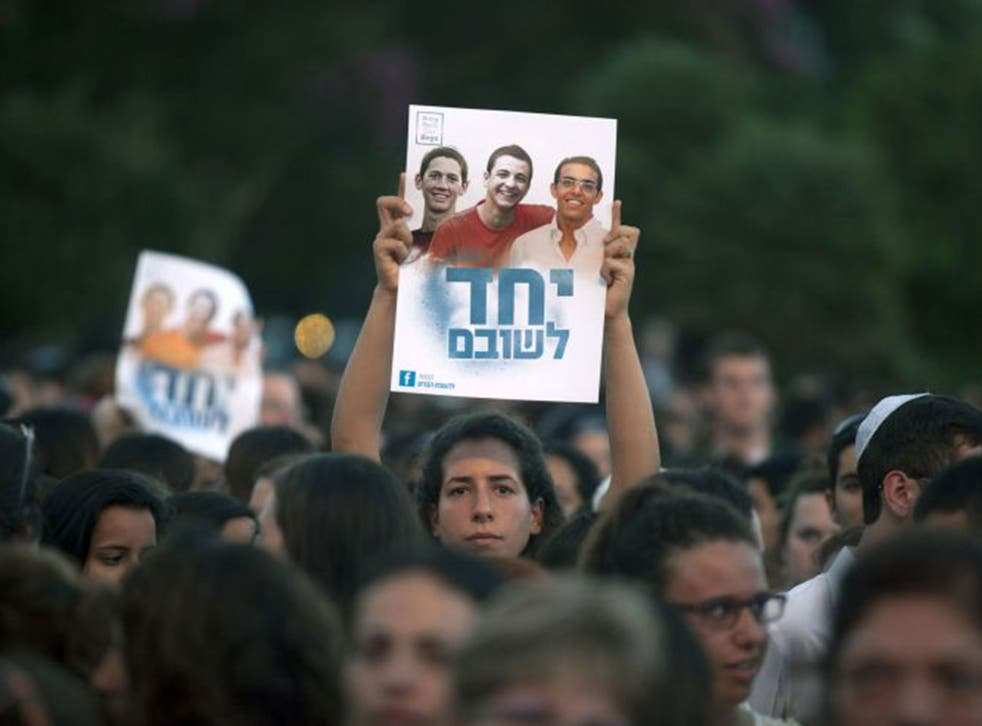 The alleged kidnapping of the three boys, which the Israeli government blamed on Hamas, led to mass rallies in Tel Aviv and elsewhere