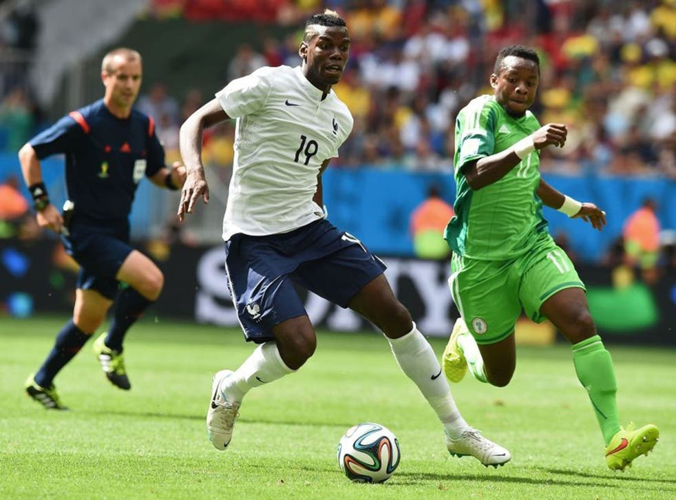 Paul Pogba (centre) produced a man-of-the-match performance against Nigeria in the last 16