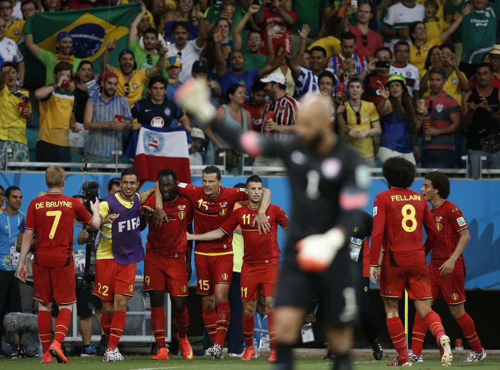 Romelu Lukaku and Belgium celebrate his goal against the USA